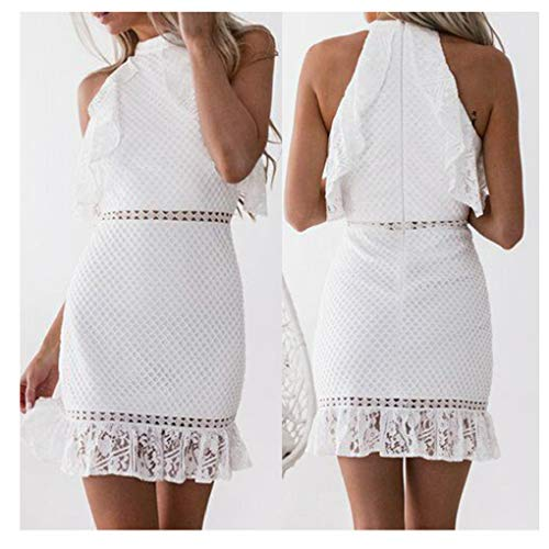 Shyby Dress, New Summer White Midi Dress Womens Sexy Lace Bodycon Cocktail Ladies Party Pencil Dress Bandage Dresses (M, White 9) - New Sexy Cocktail