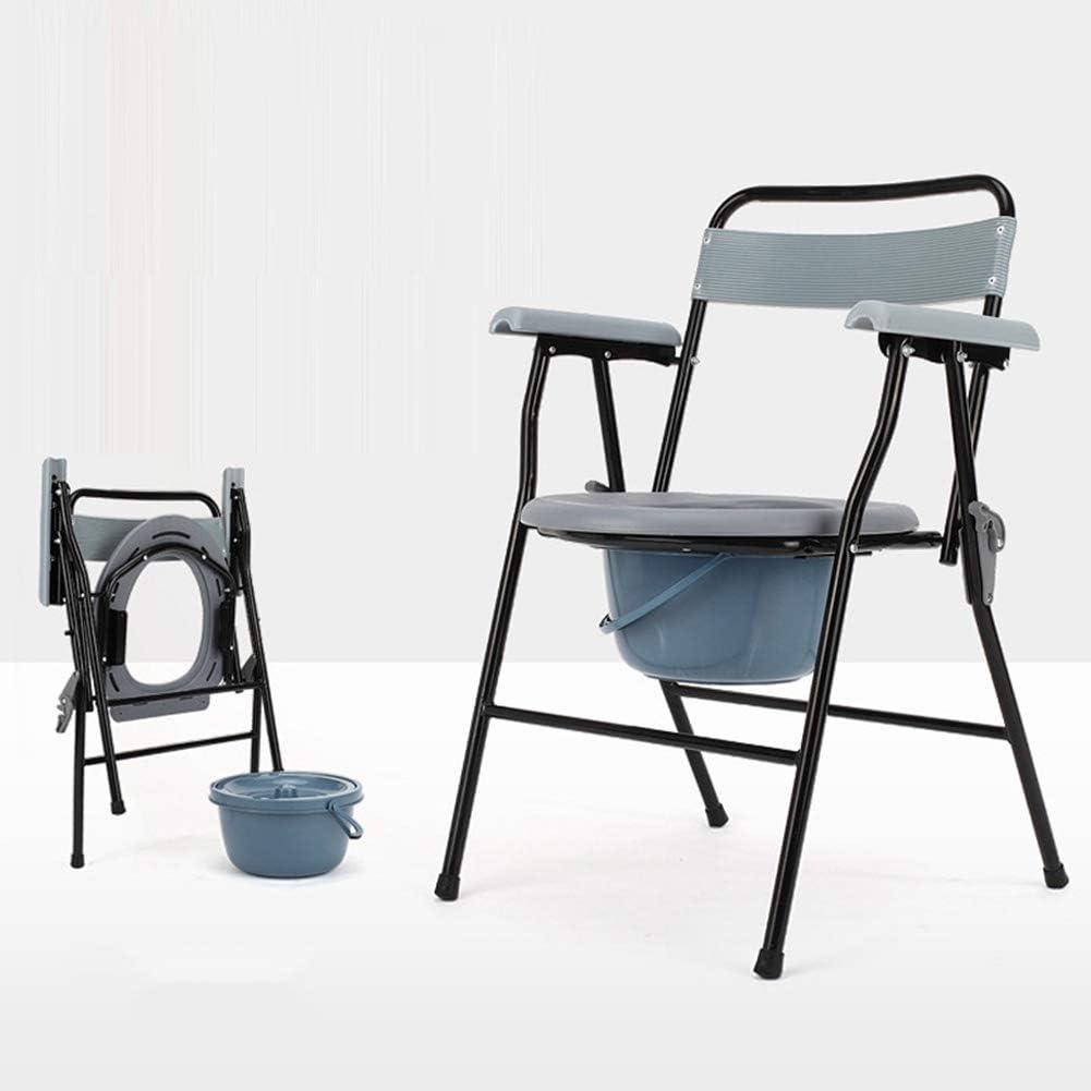 OLDHF Silla con Cubo Inodoro Incorporado Asiento WC,WC Plegable Inodoro, Barandilla Antideslizante,para Personas Mayores,Discapacitados