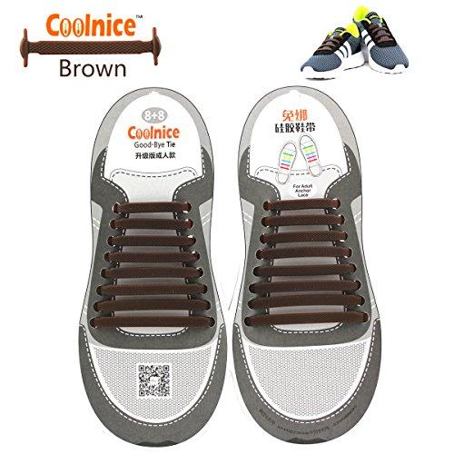 Coolnice de Cordones Elásticos para adultos y niños - ambientalmente seguro a prueba de agua Brown
