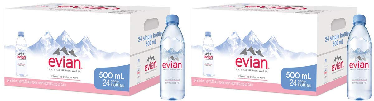 7e855dec9a Amazon.com : evian Natural Spring Water Individual 500 ml (16.9 oz.)  Bottles, Naturally Filtered Spring Water in Individual-Sized Plastic  Bottles : Sports & ...