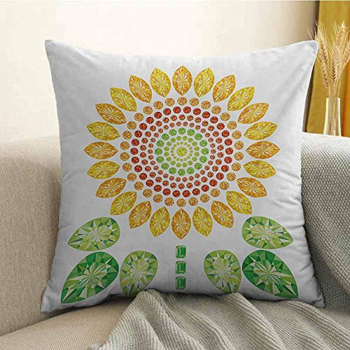 Sunflower Silky Pillowcase Round Sunflower Mandala Design with Diamond and Pearl Figures Print Super Soft and Luxurious Pillowcase W20 x L20 Inch Yellow White and Green ()