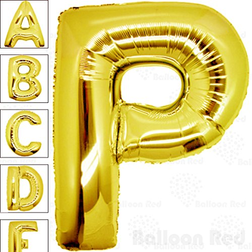 40 Inch Giant Jumbo Helium Foil Mylar Balloons for Party Decorations (Premium Quality), Glossy Gold, Letter P