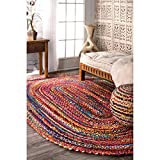 nuLOOM Hand Braided Bohemian Colorful Cotton Oval Rug, Multi, 4' x 6'