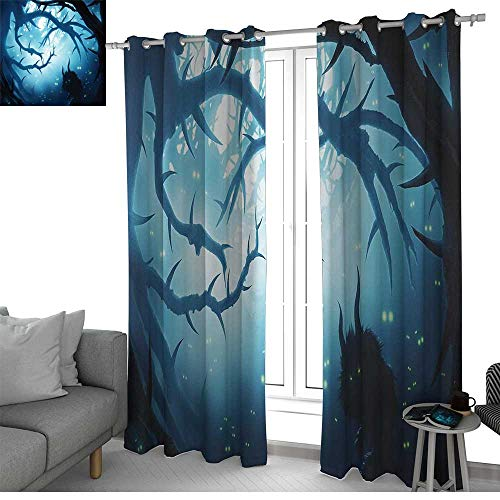 NUOMANAN Blackout Lined Curtains Mystic Decor,Animal with Burning Eyes in Dark Forest at Night Horror Halloween Illustration,Navy White,Thermal Insulated,Grommet Curtain Panel Set of 2 -