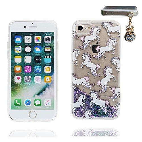 """iPhone 7 Plus Coque, iPhone 7 Plus étui Cover 5.5"""", Bling Bling Glitter Fluide Liquide Sparkles Sables, iPhone 7 Plus Case, (cheval) anti- chocs et Bouchon anti-poussière"""