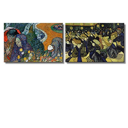 The Dance Hall in Arles Memory of the Garden at Etten (Ladies of Arles) by Vincent Van Gogh x 2 Panels