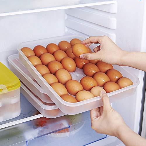 HANSGO Egg Holder for Refrigerator, Deviled Egg Tray Carrier with Lid Fridge Egg Dispenser Egg Storage Stackable Plastic Egg Containers, 30 Egg Box