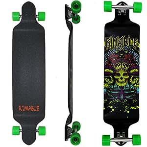 Rimable 41 Inch Drop Deck Complete Longboard (Green Skull)