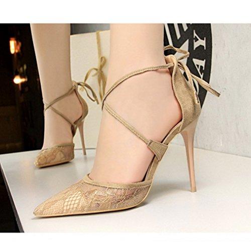 LIANGXIE Sandalen Stil Hohen Europäischen Wies Hohlen Absätzen Xiaoqi Hochhackigen Sexy Schuhe mit Amerikanischen Lace mit Braun Net Mund Cross und Flachen Strap HtxHwqFgr