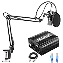 Neewer NW-700 Condenser Mic Kit with USB 48V Phantom Power Supply,NW-35 Suspension Arm Stand(Black),Shock Mount(Silver),Pop Filter for Home Studio Recording Broadcast YouTube Live Periscope(Blue)