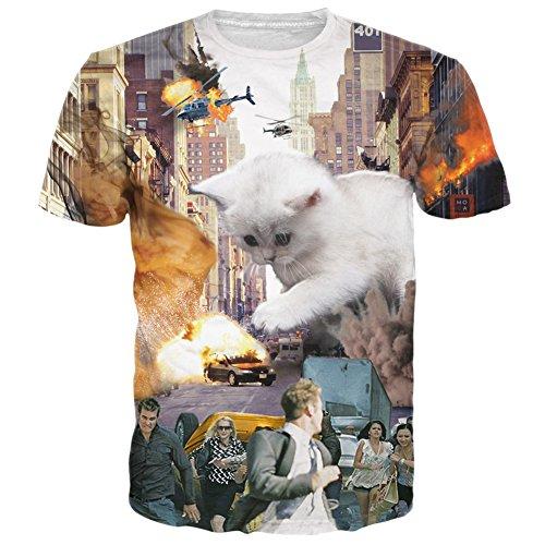 RAISEVERN Unisex Lifelike Huge Cat Printed Hip Hop T-Shirts M