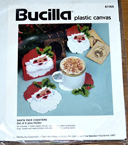 Bucilla Plastic Canvas Santa Face Coasters (Face Plastic Canvas)
