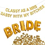 Bachelorette Party Decorations Kit - Premium Quality Bridal Party Bachelorette Supplies - Shimmering Classy As A Mrs Sassy with My Ladies Gold Banner - Bride Gold Balloons & Gold Confetti Rings