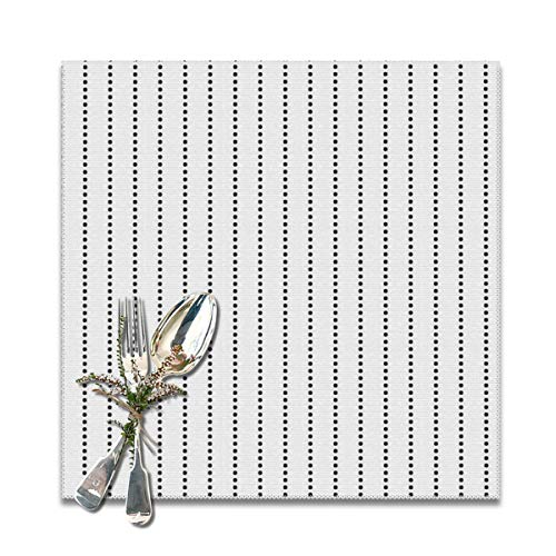 LALACO-Design White and Black Dot Pinstripe Placemats Set of 6 Washable Table Mats 12x12 Inch ()