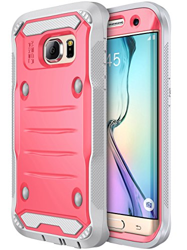 Galaxy S7 Edge Case, E LV Samsung Galaxy S7 Edge Hybrid Armor Protection Defender (Without Built-in Screen Protector) Case for Samsung Galaxy S7 Edge - [RED Melon/Grey]