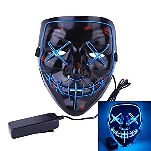 MeiGuiSha LED Halloween Mask Halloween Scary Cosplay Light up Mask for Festival Parties