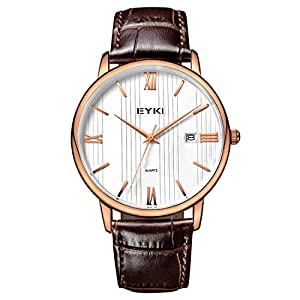 Voeons Men's Classic Quartz Analog Business Watch Brown Genuine Leather Band Casual Dress Wrist Watches with Gold Case, Roman Numeral, Automatic Date Display, 30M Waterproof