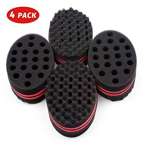 HALLO Big Holes Hair Brush Sponge Twist Wave Barber Tool For Dreads Afro Locs Twist Curl Coil Black(4 Packs)