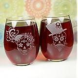 Sugar Skull Engraved Stemless Wine Glass (Set of 2)