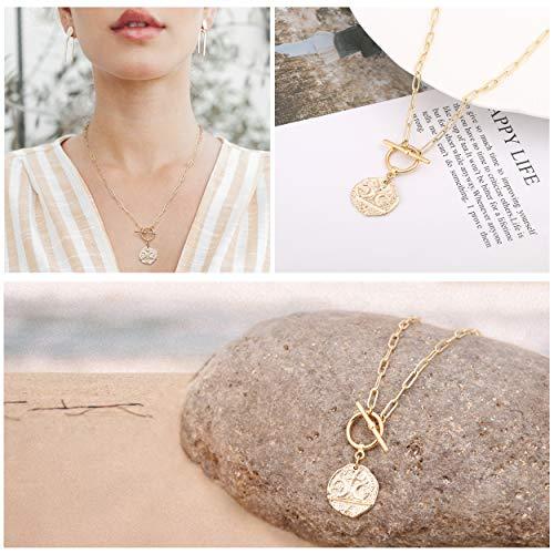 18K Gold Moon Star Lion Evil Eye Pendant Necklace Medallion Oval Link Chian Choker Layering Jewery for Women Girls