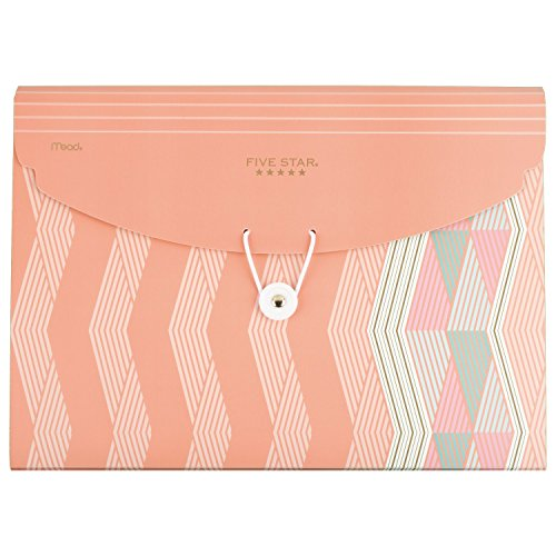 Five Star Expanding File, 6-Pocket Expandable File Folder, Zigzag Coral Design (35106BO8) (Design 5 Pocket)