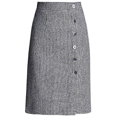 Women Winter Woolen Plaid Bag Hip Long Skirt Office Lady One Step Skirts