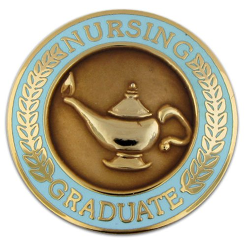 PinMart's Nursing Graduate Lamp of Knowledge Circle Teal Enamel Lapel Pin