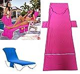 Elaco Beach Bath Towel Sun Lounger Buddy Bag Holiday Garden Lounge With Pockets Travel (Blue, approx 215x75cm)