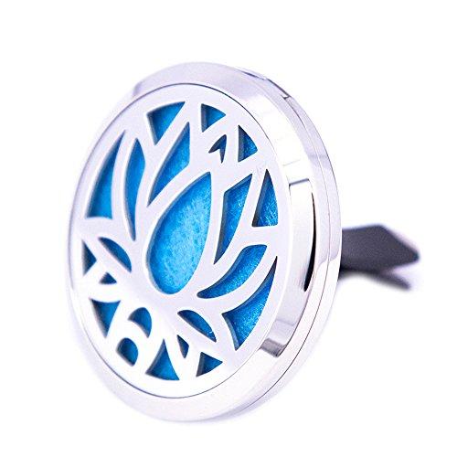 [해외]Mesinya Lotus (38mm) 공기 청정제 기관총 스테인레스 스틸 자동차 아로마 테라피 무료 패드 Essential Oil Car Diffuser Lockets/Mesinya Lotus(38mm) Air Fre