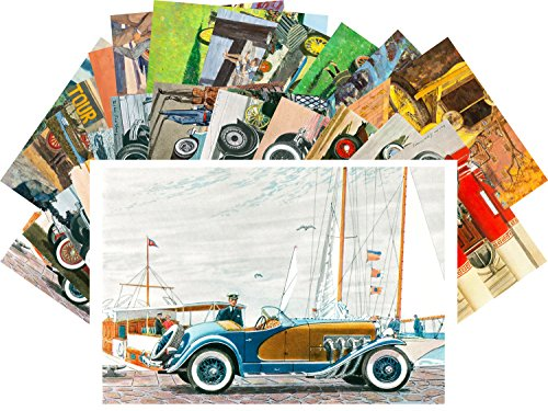 Postcard Set 24pcs Classic Cars Vintage Magazine Ads Illustration by Kenneth Pauling Riley and Leslie ()