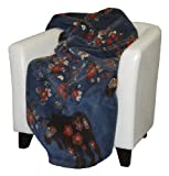 Denali Home Collection by Mont Double-Sided Reversible Throw, 60 by 70-Inch, Moose Blossom Blue/Taupe