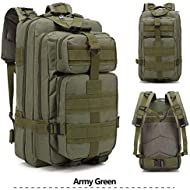 25 L Tactical Backpack Small Camping Hiking Backpack Shoulder Bag for Daily and Camping Use (Army Green)