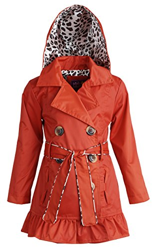 Pink Platinum Little Girls Belted Trench Spring Jacket with Detachable Hood - Red (Size 4)