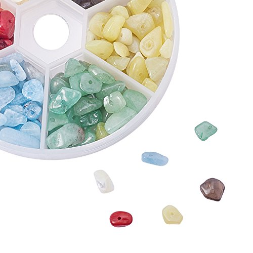 Pandahall Elite 1 Box 6 Mixed Color Natural Lemon Jade, Aquamarine, Green Aventurine,White Shell,Red Coral Color Quart Crystal Chips Beads, No Hole/Undrilled, 5-8×5-8mm, Hole: 1mm