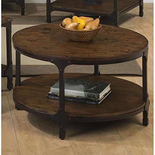 Jofran Urban Nature Wood Round Coffee Table in Pine (Coffee Table Rustic Round)