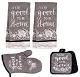 5 Piece Kitchen Towel Set Includes 2 Towels 2 Potholders 1 Oven Mitt (Grey Home)