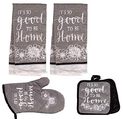 5 Piece Kitchen Towel Set Includes 2 Towels 2 Potholders 1 Oven Mitt (Grey Home) ()