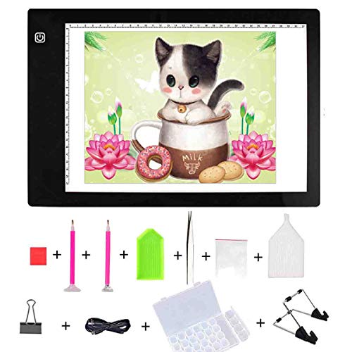Diamond Painting A4 LED Light Pad Light Board Tracing Light Box Board Light Tablet - with Diamond Painting Tools Stand Holder and Clips - Apply to DIY 5D Diamond Painting Sketching Drawing
