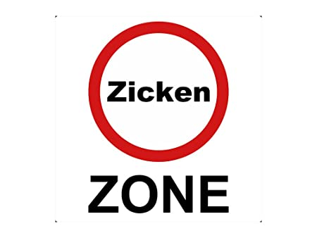 Wall Sticker As Street Sign Road Sign Zicken Zone Glass 57 X 57 Cm
