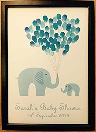 Personalised baby shower guest book alternative fingerprint personalised baby shower guest book alternative fingerprint colourful balloons decoration favour gift with frame negle Choice Image