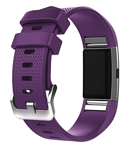 - For Fitbit Charge 2 Bands, New Bracelet Strap Replacement Band Wristband with Secure Silicone Fasteners Metal Clasps for Fitbit Charge 2 (No Tracker) (Purple, 5.5 - 8.1 Inches wrist)