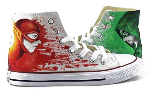 - Hand Painted Shoes Custom Men Women Shoes Arrow and Flash High Top Shoes Sneakers Chuck Men Women Fashion Shoes Free Shipping