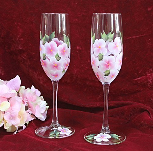 Hand Painted Champagne Glasses - Pink and White Hydrangeas (Set of 2)