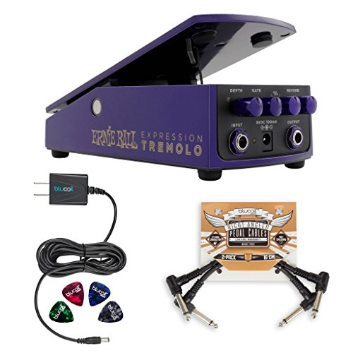 Built In Expression Pedal - Ernie Ball Expression Tremolo Pedal (6188) Electric Guitar with Built-in Reverb Effects Bundle with Blucoil Pedal Patch Cables (2-Pack), 9V DC 670mA Power Supply Adapter and 4 Celluloid Guitar Picks