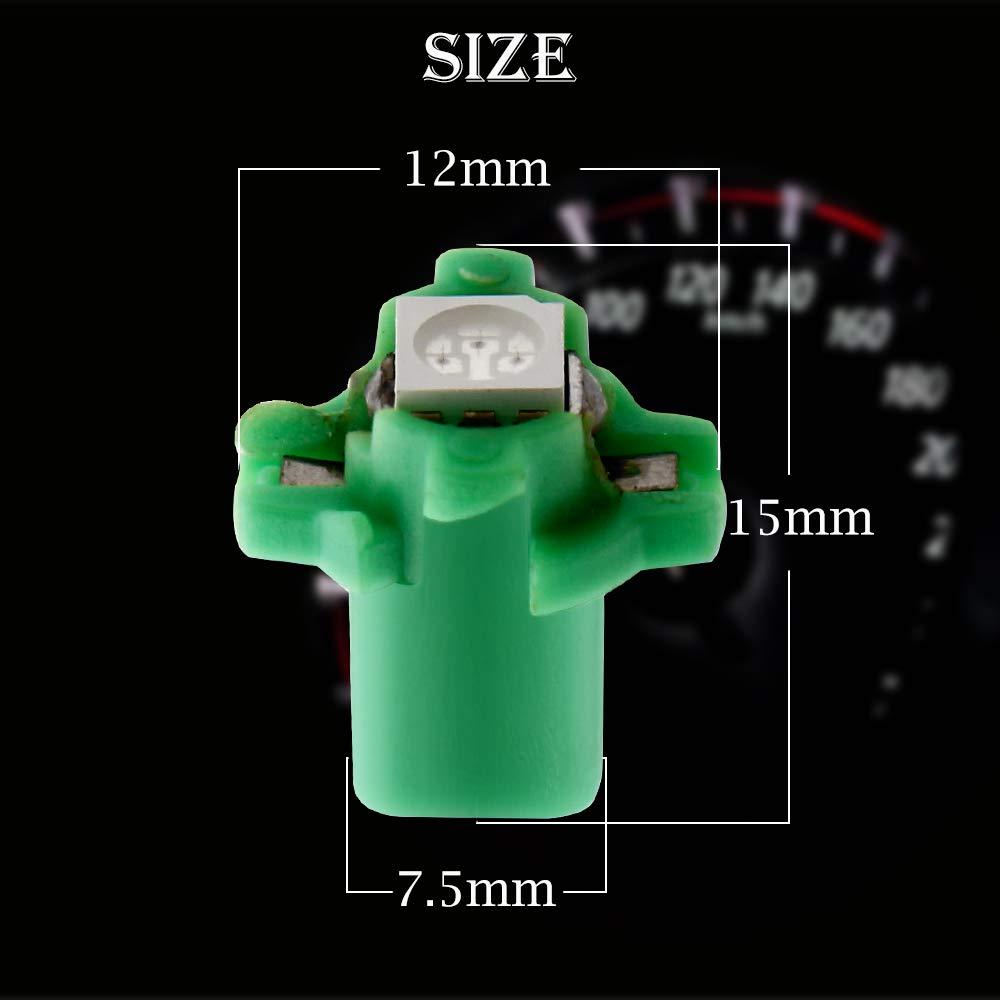 Grandview 10pcs Verde T5 Bombillas LED SMD-1-5050 B8.5 Para el Coche del Veloc/ímetro del Tablero de Instrumentos Instrumento Medidor de Garant/ía a Base de Indicadores de Luz de 2 A/ños