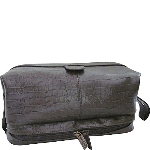 AmeriLeather Printed Leather Toiletry Bag (Moss Croco-Print) Green Croco Print