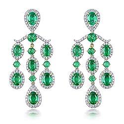 Diamond Emerald Drop Earrings For Women