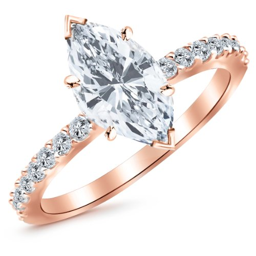 0.76 Carat 14K Rose Gold Classic Side Stone Pave Set Marquise Cut Diamond Engagement Ring (I Color SI2 Clarity Center Stones)