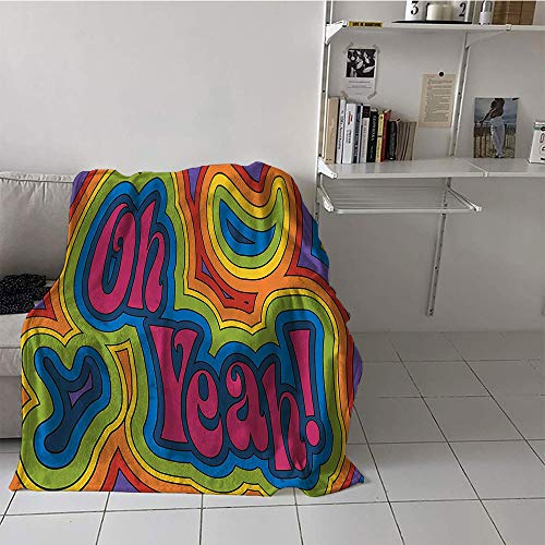 Khaki home Children's Blanket Cozy Lightweight E x tra Big (35 by 60 Inch,Groovy Decorations Collection,Rainbow Psychedelic Oh Yeah Hippie Dated Vibrant Colored Art,Orange Yellow Red Green Blue Pink