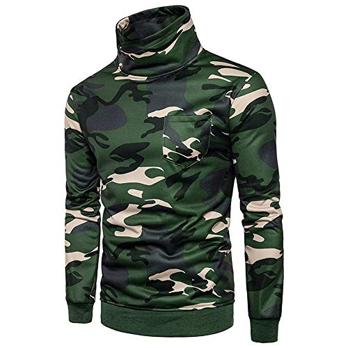 Clearance Sale !Charberry Mens Camouflage Pullover Sweater Long Sleeve Sweatshirt Tee Blouse (US-L/CN-XL, Green) by Charberry